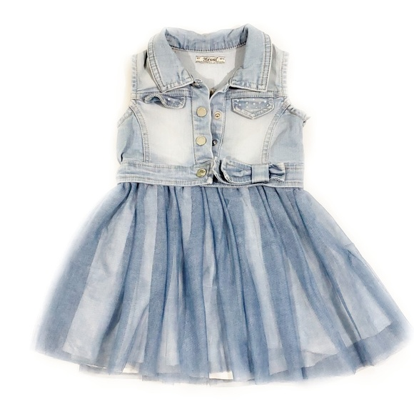 f7b88e945500 Mayoral Denim Sleevless Tulle Skirt Dress (B8). M 5b4ccd35a31c337ae051e931